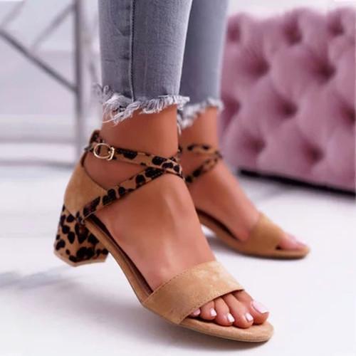 Chunky Heel Artificial Suede Adjustable Buckle Leopard Sandals