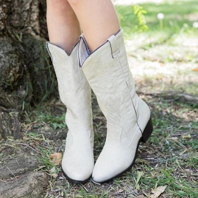 Embroidery Stitching Mid-Calf Medium Chunky Boots