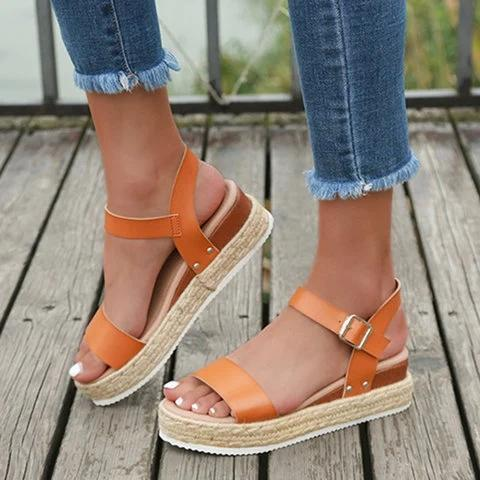 Summer Adjustable Buckle PU Casual Espadrille Sandals