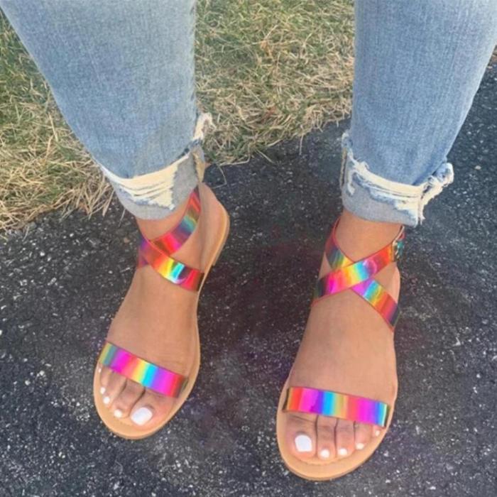 Women Daily Sexy Rainbow Buckle Strap Flat Heel Sandals
