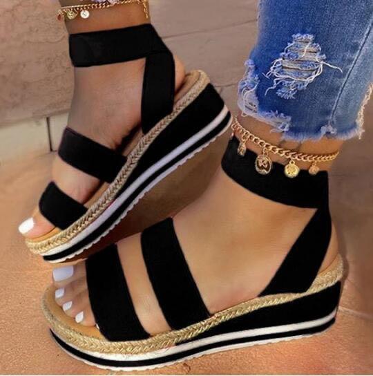 Open Toe Slip-On Platform Casual Thread Sandals
