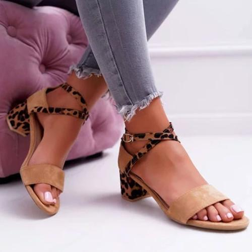 Chunky Heel Artificial Suede Adjustable Buckle Leopard Sandals