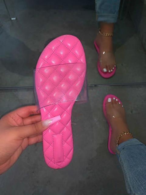 Women Transparent Upper Linge Open Toe Slip On Flat Heel Slippers