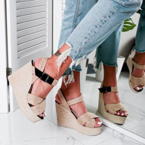 Wedge Sandals Hemp Straw Sandals