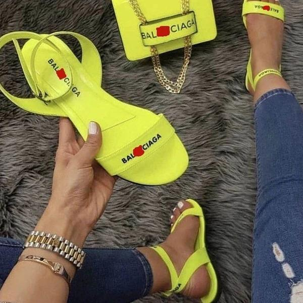 Flat With Line-Style Buckle Open Toe Letter Print Sandals