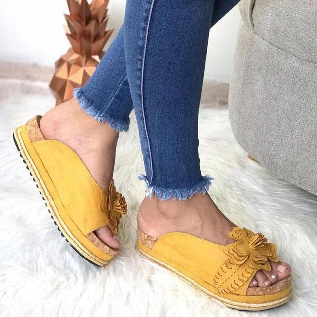Plain Flat Peep Toe Casual Travel Comfort Sandals