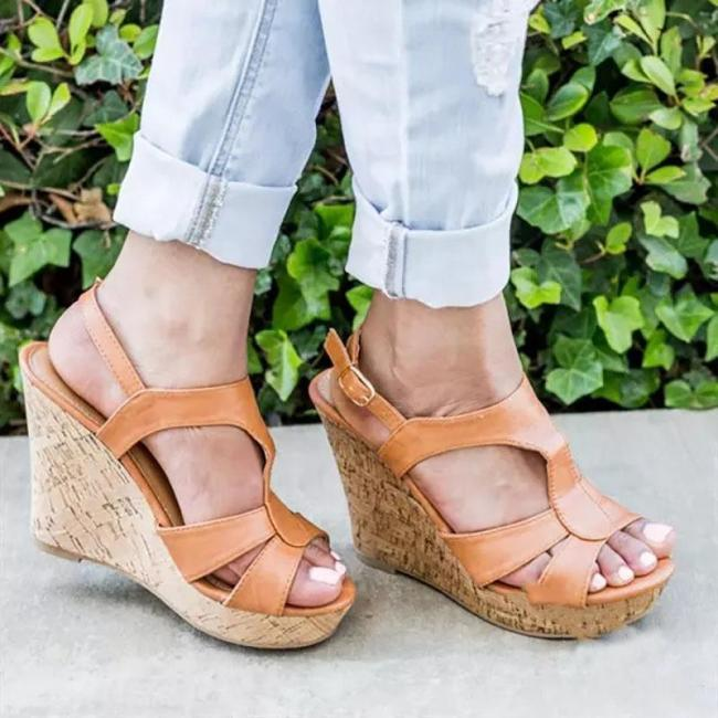 Plus Size Fashion Platform Buckle High Wedge Sandals