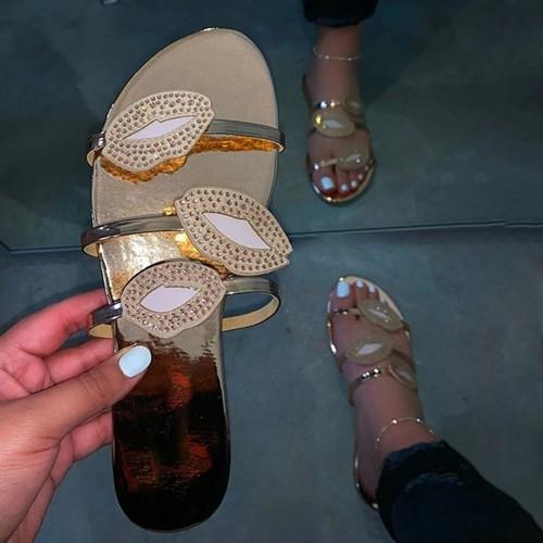 Block Heel Flip Flop Slip-On Rhinestone Casual Rubber Slippers
