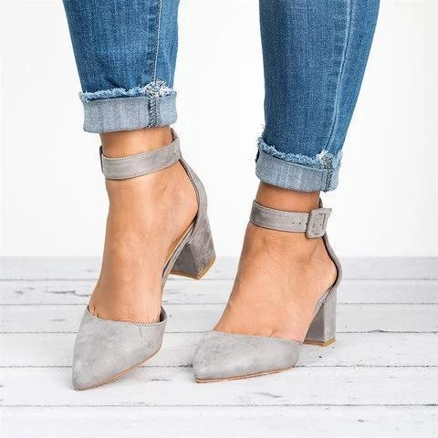 Pointed Toe Chunky Heel Pumps Adjustable Buckle Heel Sandals