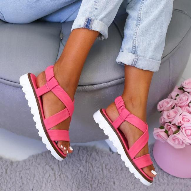 Women Casual Daily Summer Comfy Slip On Wedge Sandals