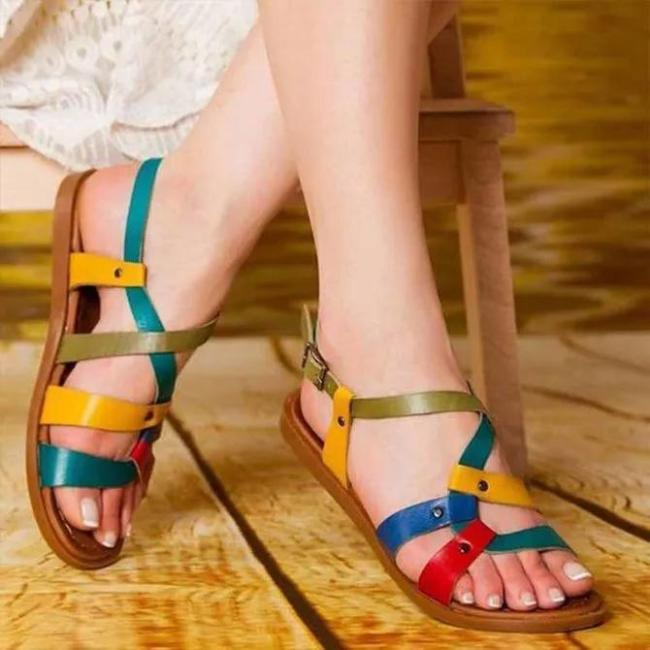 Color Leather Daily Summer Sandals