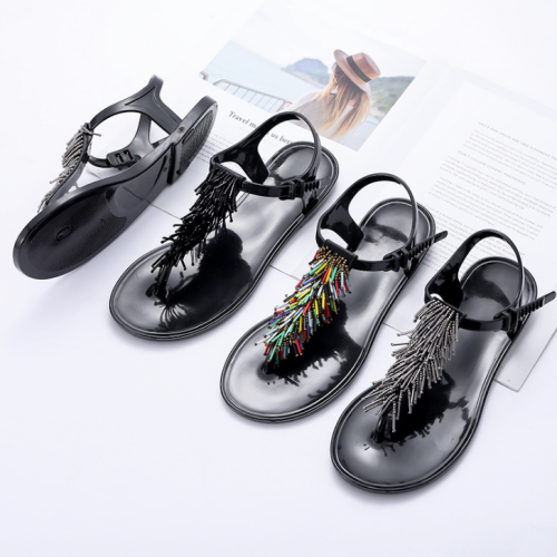 2020 Women Summer Modern Buckle Tassel Open Toe Pinch Flat Sandal