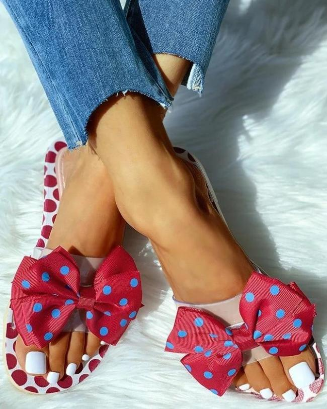 Polka Dot Bow Beach Slippers