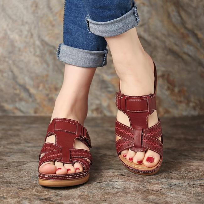 Peep Toe Platform Wide Fit Sldie Sandals