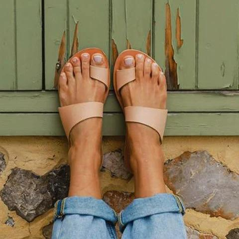 Apricot Leather Summer Slippers