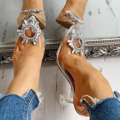 Studded Pointed Toe Transparent Thin Heels Sandals