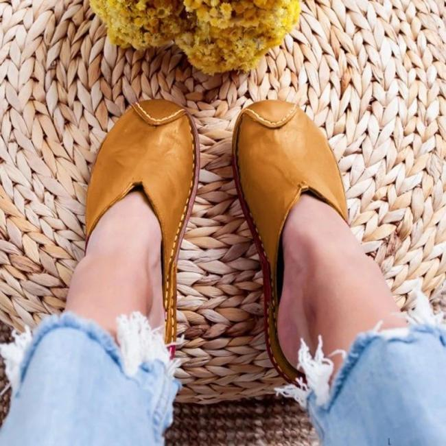 WOMEN CASUAL SUMMER COMFY LEATHER SLIPPER