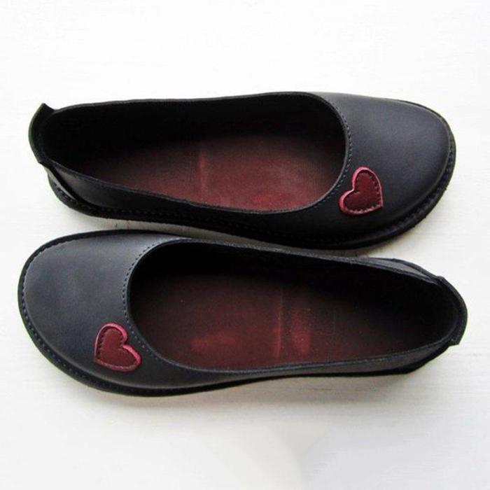 Soft Heart Flat Heel Summer Loafers