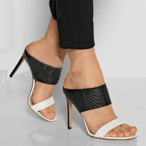 Color Block Slip-On Stiletto Heel Open Toe Sandals