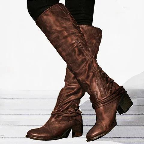 Women Vintage Lace Up Boots European Style Bandage Above Knee Boots