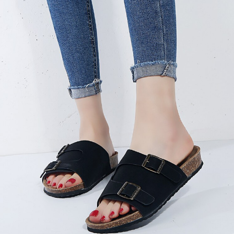 Women's Open Toe Slippers Casual Solid Color Loose Slippers