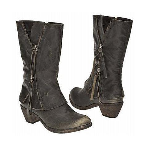 Women's Vintage Side Zippers Boots Tassel Wide Calf Boots