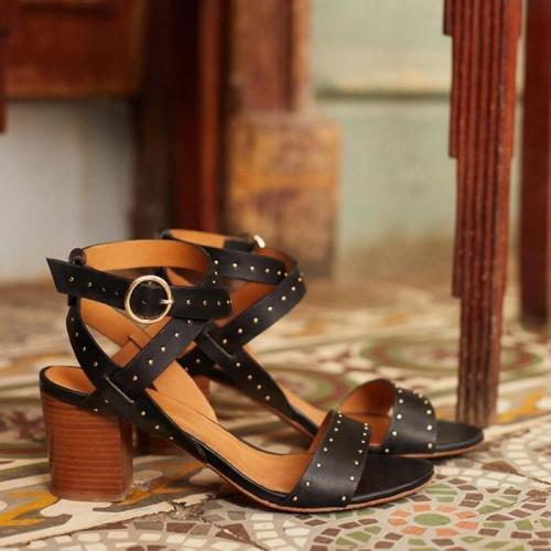 Women Chunky Heel Adjustable Buckle Working Sandals