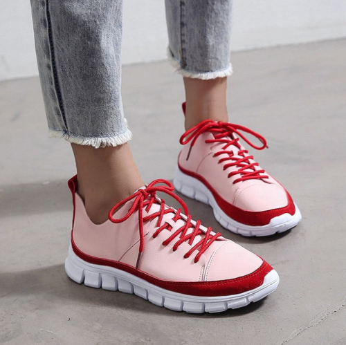 Women's Casual Lace Up PU Leather Sneakers