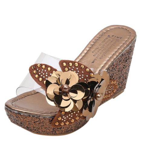 2020 New Fashion Women Summer Rhinestone Sequins Wedge Sandals