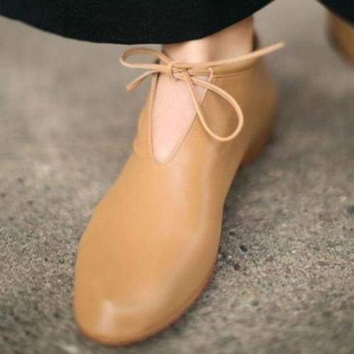 Comfort Round Toe Flat Shoes PU Daily Lace-up Bow Loafers