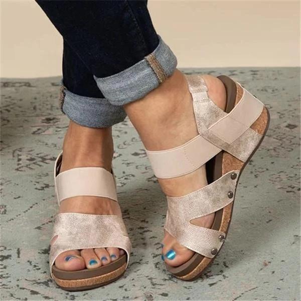 Women Comfy Slip-on Wedge Sandal