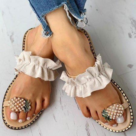 Woman Pineapple Rhinestone Ruffles Flat Heel Slipper Slide Sandals