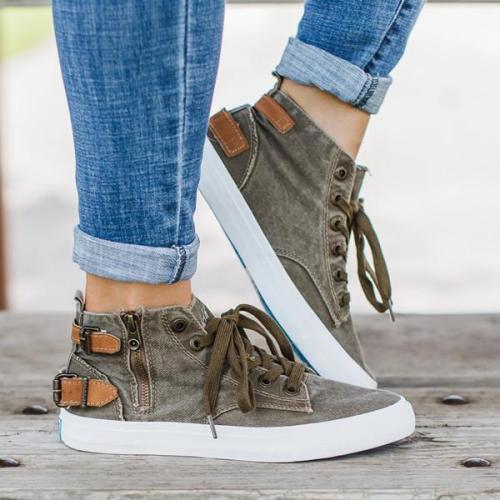 Women  Mid Calf Canvas Sneakers