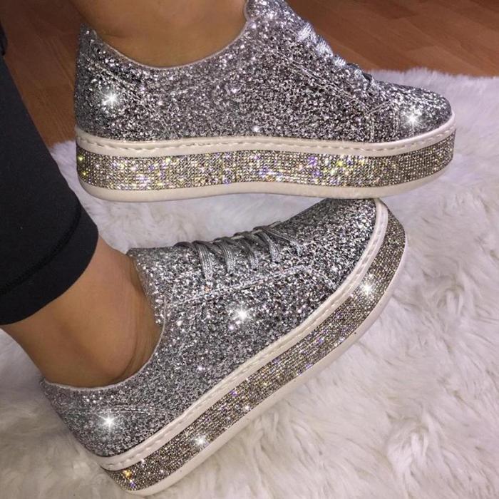 Fashion Rhinestone Paillette Lace-Up Low-Heel Single Shoes