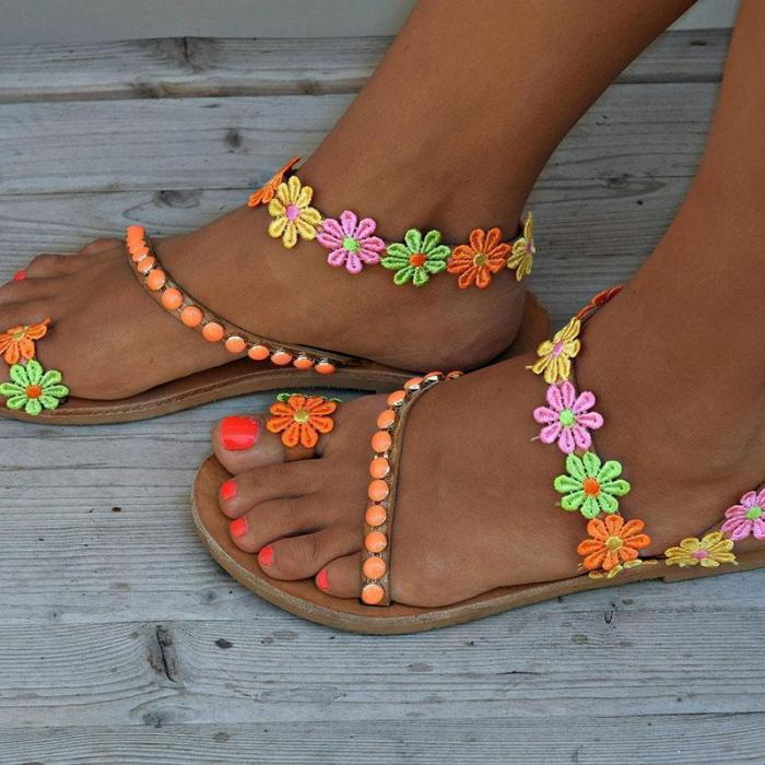 Ladies Handmade Sweet Flower Ankle Strap Flip-flop Flat