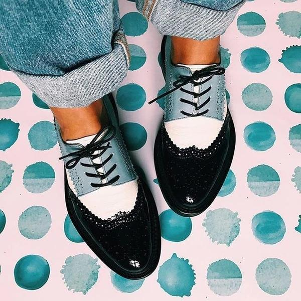 Fashion Luxury Lace Up England Casual Flats Shoes