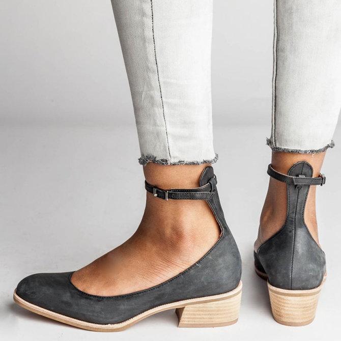 Women Adjustable Ankle Strap Slip-on Pump Sandals