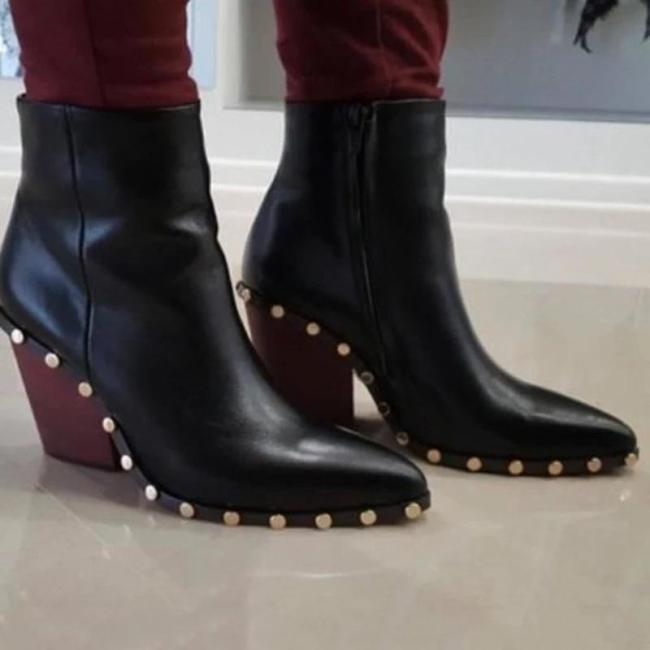 Women Chunky Heel Pointed Toe Boots
