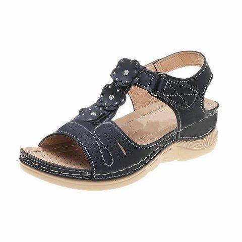 Women Casual Summer Flower Comfy Wedge Sandals