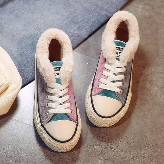 Women's Casual Flat Heel Colorful Canvas Sneaker Shoes