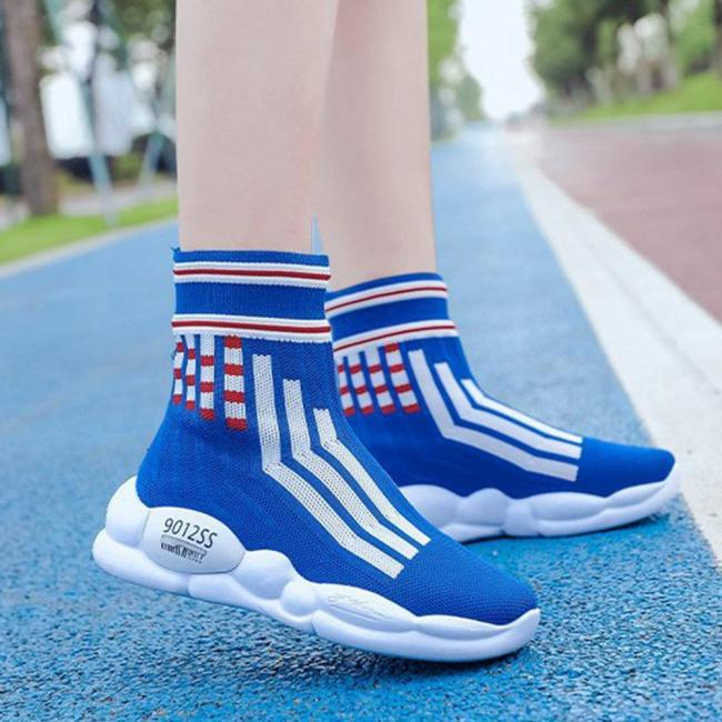 Women Casual Breathable Sock Shoes Mesh High Top Sneakers