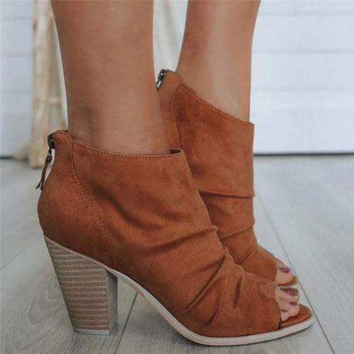 Women Casual Fashion Chunky Heel Zipper Ankle Boots