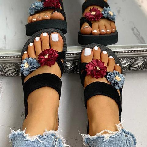 Women Casual Summer Double Flower Comfy Slip On Sandals