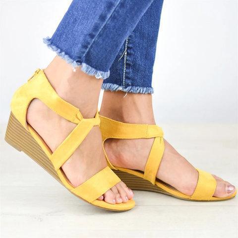 Wedge Heel Cloth Criss Cross Open Toe Zipper Wedges Sandals