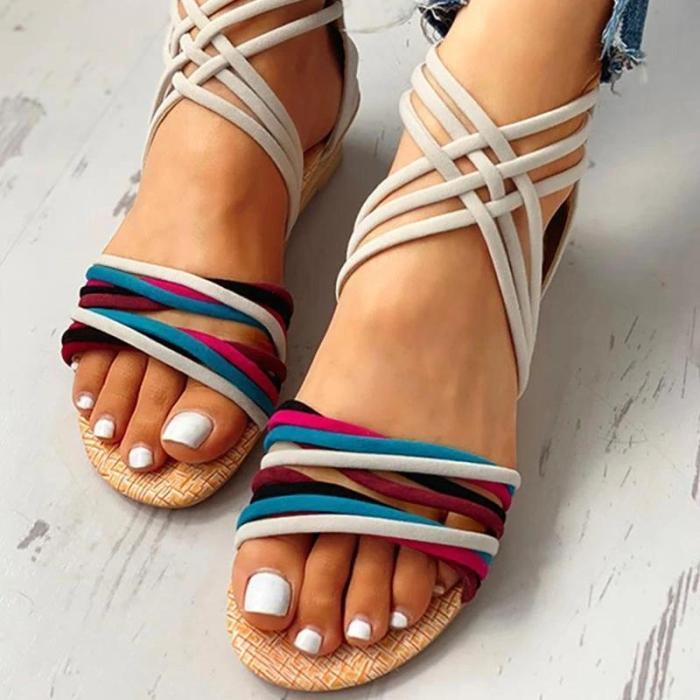 Women Suede Colorful Cross-Strap Open Toe Zipper Sandals