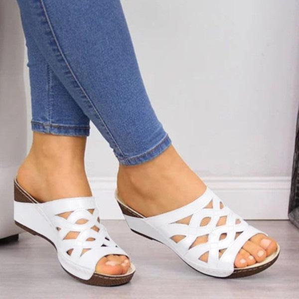 Women Casual Peep Toe Wedge Sandals