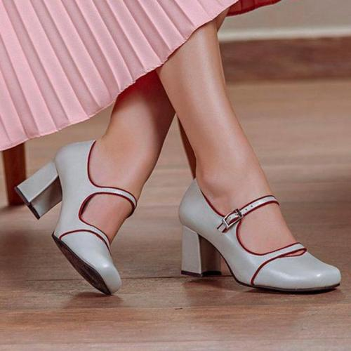 Women Contrast Color Middle Heels Casual  Sandals