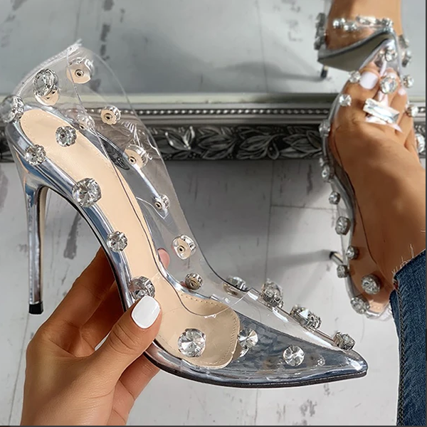 2020 New And Fashional Woman Sandals Transparent Studded Thin Heels