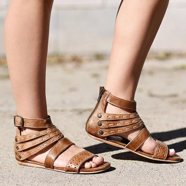 Women'S Vintage Artificial Leather Adjustable Buckle Sandals