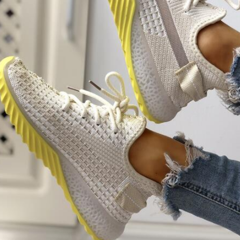 2020 Women Casual Fashion Breathable Walking Mesh Flat Sneakers